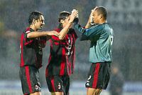 Siena 17/4/2004 Campionato Italiano Serie A <br />30a Giornata - Matchday 30 <br />Siena Milan 1-2 <br />Alessandro Nesta (left), Paolo Maldini (center) and Nelson Dida (right) celebrate victory at the end of the match<br /> Foto Graffiti