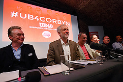 © Licensed to London News Pictures. 06/09/2016. London, UK. Labour leader and leadership candidate JEREMY CORBYN holds a press conference with the members of the 80's famous band 'UB40' at the Royal Society of Arts in London as the band members came out in favour of Jeremy Corbyn and his policies on Tuesday, 6 September 2016. Photo credit: Tolga Akmen/LNP