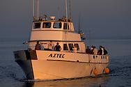 Commercial sport fishing boat and fishermen return to port at sunset, Long Beach Harbor, California