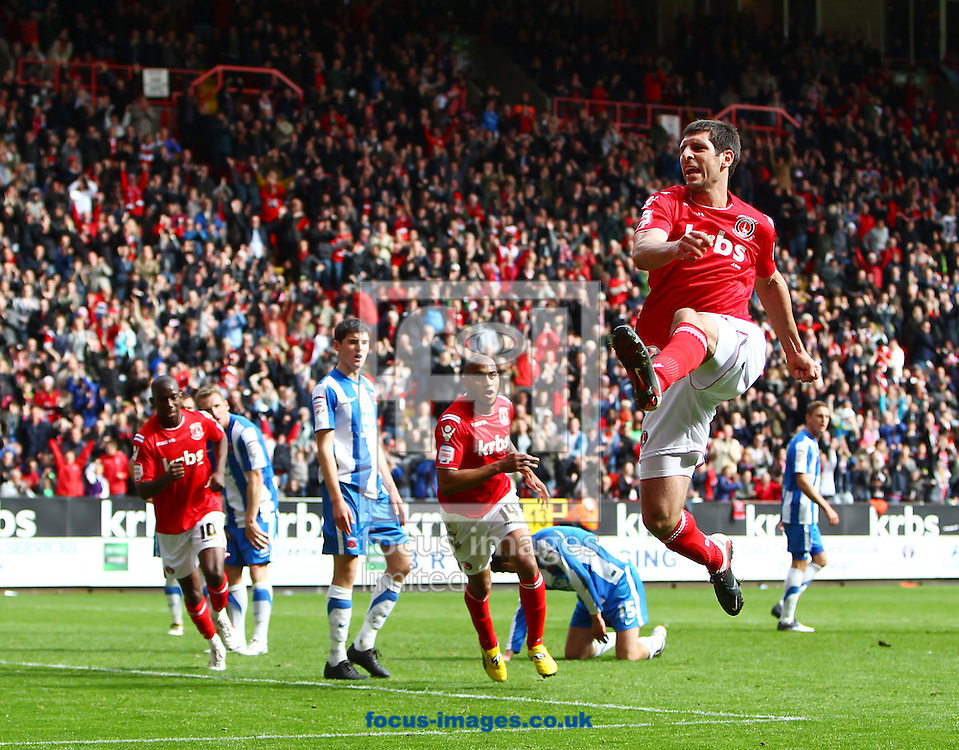 Picture by John Rainford/Focus Images Ltd. 07506 538356.05/05/12.Danny Hollands of Charlton Athletic celebrates scoring the equaliser against Hartlepool United during the Npower League 1 match at The Valley stadium, London.