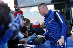 Chelsea's Ross Barkley greets fans as he arrives at Stamford Bridge before the match