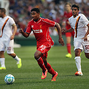 Jordon Ibe, Liverpool, in action during the Liverpool Vs AS Roma friendly pre season football match at Fenway Park, Boston. USA. 23rd July 2014. Photo Tim Clayton
