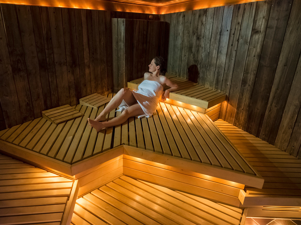 Woman relaxing in sauna of Palais-Thermal, Bad Wildbad, Baden-Württemberg, Germany