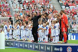 """09.08.2014, Allianz Arena, Muenchen, GER, 1. FBL, FC Bayern München, Teampräsentation, im Bild Andreas Bourani singt seinen WM-Song """"Auf Uns"""" auf der Tribuene der Bayern Spieler. // during the Team Presentation of German Bundesliga Club FC Bayern Munich at the Allianz Arena in Muenchen, Germany on 2014/08/09. EXPA Pictures © 2014, PhotoCredit: EXPA/ Eibner-Pressefoto/ Stuetzle<br /> <br /> *****ATTENTION - OUT of GER*****"""