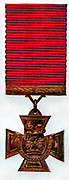 Victoria Cross: Decoration for gallantry instituted by Queen Victoria after the Crimean War and made of bronze from captured Russian guns