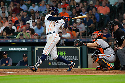 May 23, 2018 - Houston, TX, U.S. - HOUSTON, TX - MAY 23: Houston Astros shortstop Carlos Correa (1) reacts after making contact for a single in the fifth inning during MLB baseball game between the Houston Astros and the San Francisco Giants on May 23, 2018 at Minute Maid Park in Houston, Texas. (Photo by Juan DeLeon/Icon Sportswire) (Credit Image: © Juan Deleon/Icon SMI via ZUMA Press)