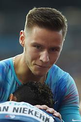 June 28, 2017 - Ostrava, Czech Republic - South African sprinter Wayde van Niekerk (bellow) and Czech sprinter Pavel Maslak reacts after the 300 metres race during the Golden Spike Ostrava athletic meeting in Ostrava, Czech Republic, on June 28, 2017. (Credit Image: © Jaroslav Ozana/CTK via ZUMA Press)