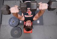 11/7/07 Smith Center, KS.Kris Lehmann in the weight room at Smith Center High School...(Chris Machian/Prairie Pixel Group)