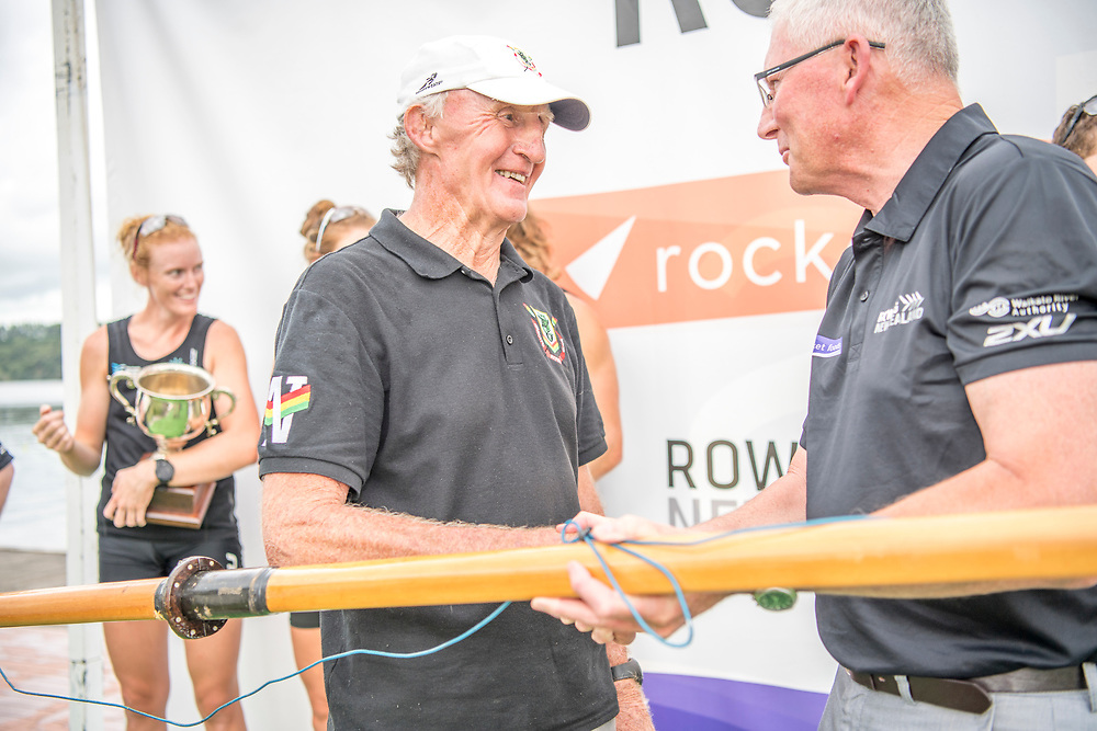 Gerry Dwyer and Ian Paterson <br /> <br /> Podium presentations at the New Zealand Rowing Champs, Lake Karapiro, Cambridge Friday 16 and Saturday 17 February 2018 Copyright photo © Steve McArthur / @RowingCelebration