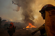 A firefighter watches as a helicopter making a drop on a wildfire near Placenta Canyon Road in Santa Clarita, Calif., Sunday, July 24, 2016.(AP Photo/Ringo H.W. Chiu)