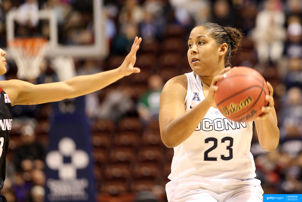 Kaleena Mosqueda-Lewis, UConn, in action during the UConn Vs Cincinnati Quarterfinal Basketball game at the American Women's College Basketball Championships 2015 at Mohegan Sun Arena, Uncasville, Connecticut, USA. 7th March 2015. Photo Tim Clayton