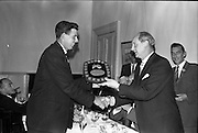 03/07/1963<br /> 07/03/1963<br /> 03 July 1963<br /> David Brown Tractor and Implements Maintenance Awards presented by Minister of Industry and Commerce Jack Lynch TD at the Shelbourne Hotel, Dublin. Picture shows Jack Lynch (right) presenting  the main award.