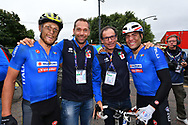 Arrrival, Men Road Race 230,4 km, Davide Cimolai (ITA - Groupama - FDJ), Marco Velo - Davide Cassani, Matteo Trentin (Italy ITA) winner, during the Cycling European Championships Glasgow 2018, in Glasgow City Centre and metropolitan areas, Great Britain, Day 11, on August 12, 2018 - Photo Luca Bettini / BettiniPhoto / ProSportsImages / DPPI - Belgium out, Spain out, Italy out, Netherlands out -