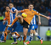 Wolverhampton Wanderers midfielder David Edwards & Brighton central midfielder Beram Kayal compete for possession during the Sky Bet Championship match between Brighton and Hove Albion and Wolverhampton Wanderers at the American Express Community Stadium, Brighton and Hove, England on 1 January 2016. Photo by Bennett Dean.