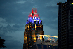 June 14, 2017 - Charlotte, NC, USA - The Bank of America Corporate Center in uptown Charlotte, N.C., is lit in red, white and blue on Wednesday, June 14, 2017. Wednesday was Flag Day but also will be remembered as the day that Republican leaders were fired upon and injured in Alexandria, Va. (Credit Image: © Jeff Siner/TNS via ZUMA Wire)
