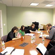 Cast rehearsal photo for Harbor Light Stage's Bold Face Play Reading presentation of Off The Map, by Joan Ackerman. Lisa Stathoplos, Elle Shaheen, Tobin Moss, Scott Caple, Anthony Ejarque, Kristan Curtis, and Kent Stephen (counter clockwise around table from 9pm)