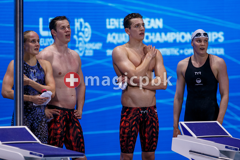 (L-R) Signe Bro, Mathias Rysgaard,  Frederik Riedel Lentz and Julie Kepp Jensen of Denmark react after competing in the mixed 4x100m Freestyle Relay Final during the swimming events of the LEN European Aquatics Championships in Budapest, Hungary, Saturday, May 22, 2021. (Photo by Patrick B. Kraemer / MAGICPBK)