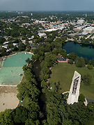 Centennial Beach pool, Millennium Carillon and the Quarry Lake are visible just west of downtown Naperville on Tuesday, July 3, 2018.