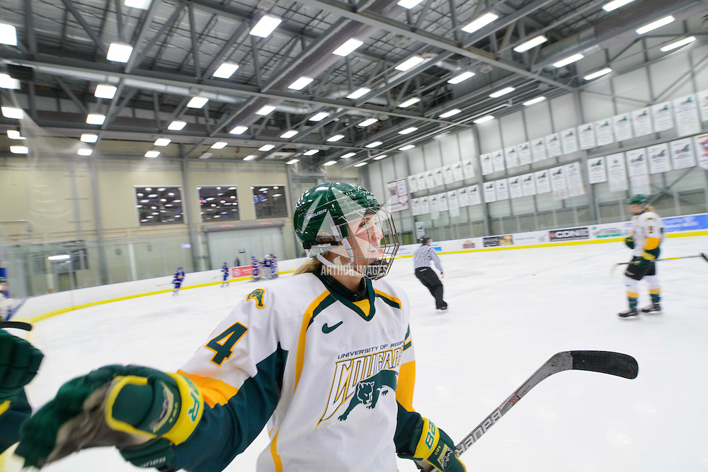 1st year forward Merissa Zerr (24) of the Regina Cougars in action during the Women's Hockey Home Game on February 4 at Co-operators arena. Credit: Arthur Ward/Arthur Images