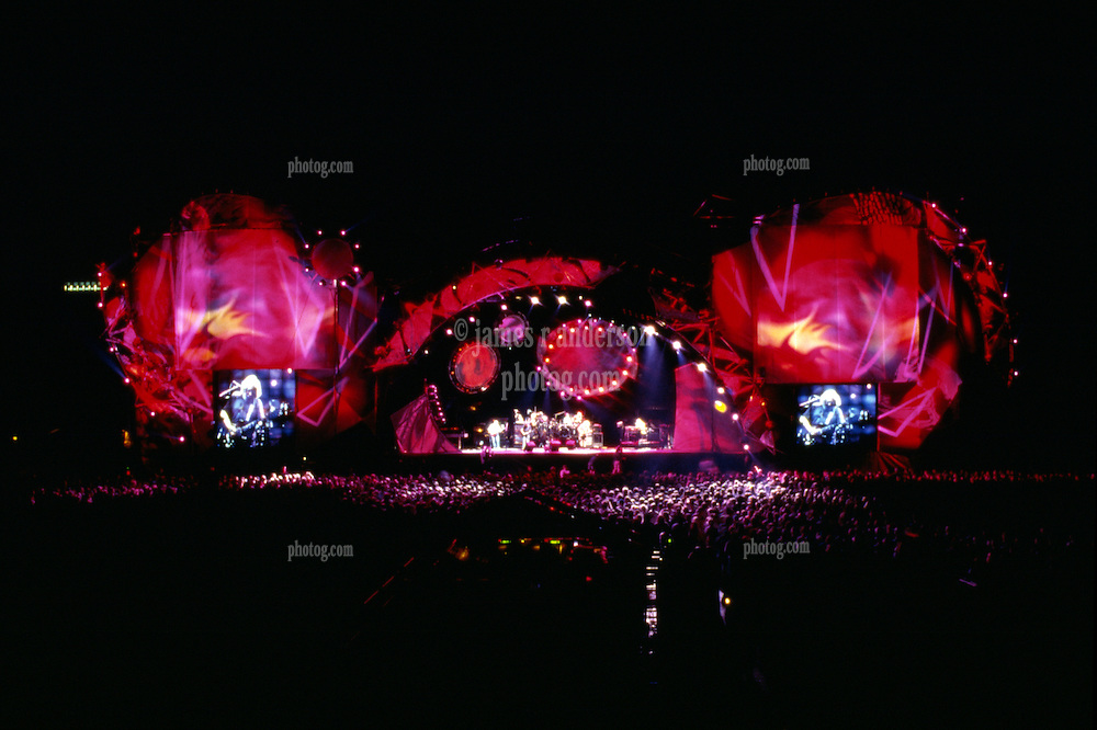 Grateful Dead Live at Soldier Field Chicago. The last show ever performed by the band, July 9, 1995. Stage lighting and set design by Candace Brightman. Photographed from the lighting booth for Ms. Brightman and Grateful Dead Productions.