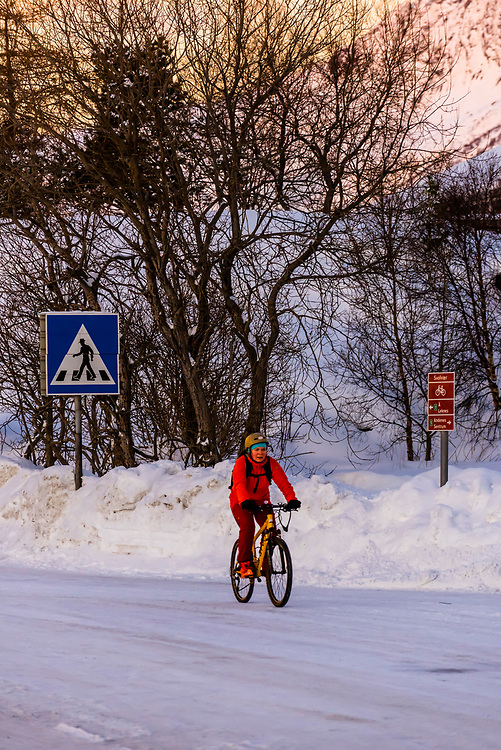 Bicycling in winter, Svolvaer, on Austvagoya Island, Lofoten Islands, Arctic, Northern Norway.
