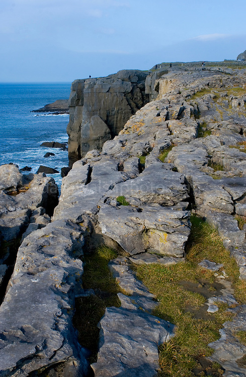 The Burren Coastline,  Co.Clare - limestone karst showing clints and crikes running right down to the Atlantic Ocean near Fanore.