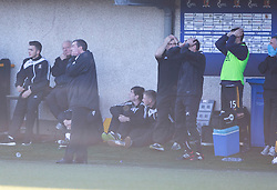 Alloa Athletic's bench after a chance.<br /> Alloa Athletic 0 v 1 Hearts, Scottish Championship played at Recreation Park, Alloa.