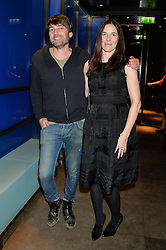 ALEX JAMES and his wife CLARE JAMES at a dinner hosted by Anya Hindmarch and Dylan Jones to celebrate the end London Collections: Men 2014 held at Hakkasan, 8 Hanway Place, London on 8th January 2014.