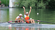 Lucerne, SWITZERLAND. A Final,  CHN W2X, Weiwei ZHU and Yangyang ZHANG,  at the  2008 FISA World Cup Regatta, Round 2.  Lake Rotsee, on Sunday, 01/06/2008.   [Mandatory Credit:  Peter Spurrier/Intersport Images].Lucerne International Regatta. Rowing Course, Lake Rottsee, Lucerne, SWITZERLAND.