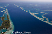 aerial view of channel through southern Belize barrier reef in vicinity of Placencia, Belize, Central America ( Caribbean Sea )