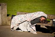 2018 FEBRUARY 12 - Homeless man on a bench, Victor Steinbrueck Park, Seattle, WA, USA. By Richard Walker