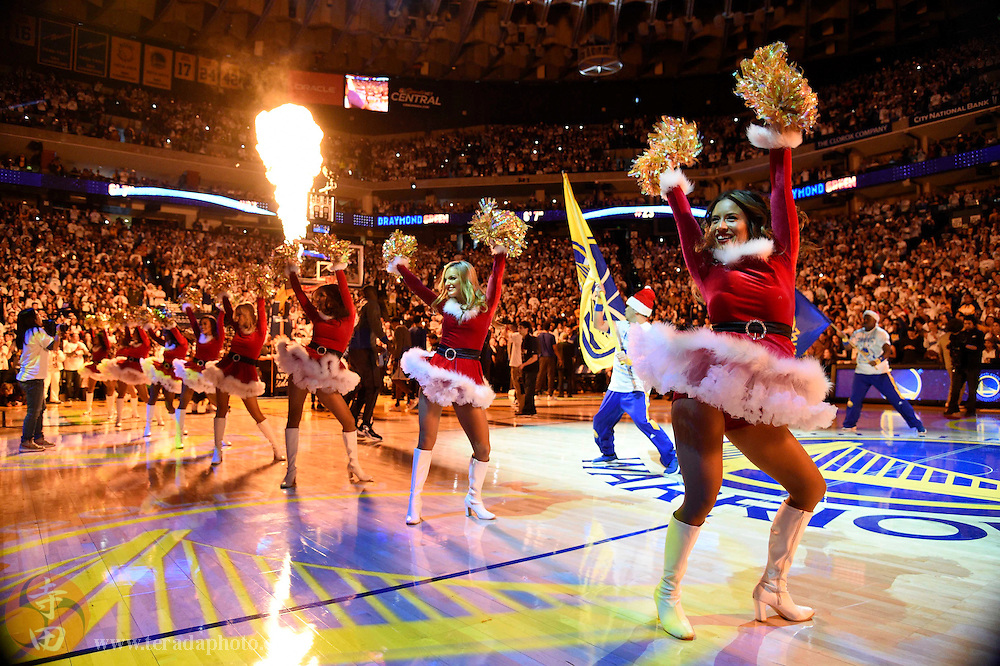 Dec 25, 2015; Oakland, CA, USA; Golden State Warriors cheerleaders perform before a NBA basketball game on Christmas against the Cleveland Cavaliers at Oracle Arena.