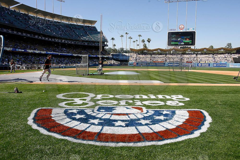 31 March 2011: Opening series logo on the field before the San Francisco Giants were defeated 2-1 by the Los Angeles Dodgers  during a sold out game at Dodger Stadium in Los Angeles, California on opening day..***** Editorial Use Only *****
