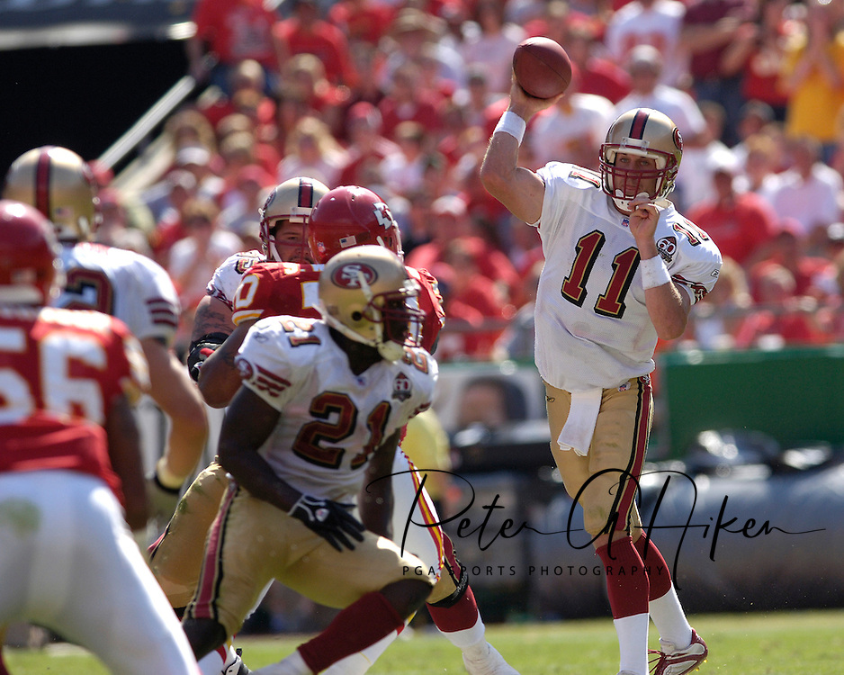 San Francisco quarterback Alex Smith (11) throws down field against Kansas City at Arrowhead Stadium in Kansas City, Missouri October 1, 2006.  The Chiefs beat the 49ers 41-0.