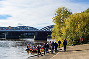 Chiswick, Greater London, UK., 11th October 2020, Saftey Boat's crew briefing,  Pairs Head if the River Race, Restricted entry and Shortened Course, COVID-19,  Barnes Bridge and Dukes Meadows location, [Mandatory Credit: Peter Spurrier/Intersport Images]