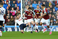 Vincent Janssen of Tottenham Hotspur tackles Joey Barton of Burnley. Premier League match, Burnley v Tottenham Hotspur at Turf Moor in Burnley , Lancs on Saturday 1st April 2017.<br /> pic by Chris Stading, Andrew Orchard sports photography.