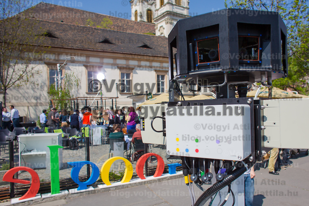 Camera section of the special trike recording photos for the Google Street View service during a press conference on the Hungarian launch of Google Street View in Budapest, Hungary on April 23, 2013. ATTILA VOLGYI
