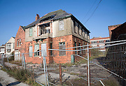 Derelict former dock office buildings, Albert Dock, Hull, Yorkshire, England