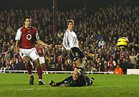 Photo: Javier Garcia/Back Page Images Mobile +447887 794393 Arsenal v Rosenborg, UEFA Champions League 07/12/04, Highbury<br />Robin Van Persie scores number five as keeper Espen Johnsen and Jan Gunnar Solli look on
