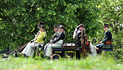 © under license to London News Pictures. WINDSOR, UK  13/05/2011.A full carriage of people wait before the start of The Carriage Marathon. The Royal Windsor Horse Show in the grounds of Windsor Castle today (13 May 2011). Photo credit should read Stephen Simpson/LNP.