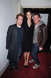 Left to right, TOM HOLLANDER, FRAN HICKMAN and JAKE GAVIN at a screening of the short film 'Away We Stay' directed by Edoardo Ponti held at The Electric Cinema, Portobello Road, London W1 on 15th November 2010.