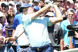 June 24, 2017 - Cromwell, Connecticut, U.S - Jordan Spieth tees off the first tee during the third round of the Travelers Championship at TPC River Highlands in Cromwell, Connecticut. (Credit Image: © Brian Ciancio via ZUMA Wire)