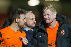 Dundee United's manager Ray McKinnon with scorers Tony Andreu and Thomas Mikkelsen. Dundee United 3 v 0 Raith Rovers, Scottish Championship game played 4/2/2017 at Dundee United's stadium Tannadice Park.