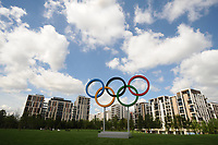 Olympic Athletes Village Oylmpic games 12/07/2012 Credit : Colorsport / Andrew Cowie<br /> Athletes Village. Olympic rings in front of the Open Park area