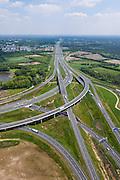 Nederland, Noord-Brabant, Eindhoven, 27-05-2013; Randweg Eindhoven. Knooppunt De Hogt, verkeersknooppunt, aansluiting autosnelweg A2 en autoweg N2 op de A67. Foto in oostlijke richting, met HighTec campus. Kenmerkende fly-overs, ook over het riviertje De Dommel.<br /> View on traffic junction De Hogt near Eindhoven, A67 connecting one of the main motorways of the Netherlands: A2 and crossing the river Dommel.  <br /> luchtfoto (toeslag op standard tarieven);<br /> aerial photo (additional fee required);<br /> copyright foto/photo Siebe Swart.