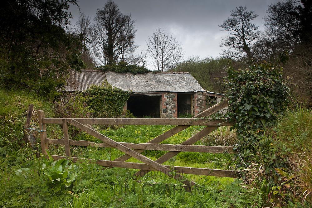 Rundown farm shack at Helston, Cornwall, England, UK
