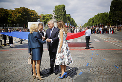 French President Emmanuel Macron during the annual Bastille Day military parade on the Champs-Elysees avenue in Paris on July 14, 2017. The parade on Paris's Champs-Elysees will commemorate the centenary of the US entering WWI and will feature horses, helicopters, planes and troops. Photo by Denis Allard /pool/ABACAPRESS.COM
