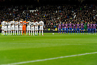Real Madrid´s players and Levante UD´s payers keeps a silence minute during 2014-15 La Liga match between Real Madrid and Levante UD at Santiago Bernabeu stadium in Madrid, Spain. March 15, 2015. (ALTERPHOTOS/Luis Fernandez)