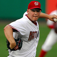 21 July 2007:  Washington Nationals pitcher Mike Bacsik (37) pitches in the 7th inning against the Colorado Rockies.  Bacsik pitched 6 2/3 innings without giving up a run as the Nationals defeated the Rockies 3-0 at RFK Stadium in Washington, D.C.  ****For Editorial Use Only****