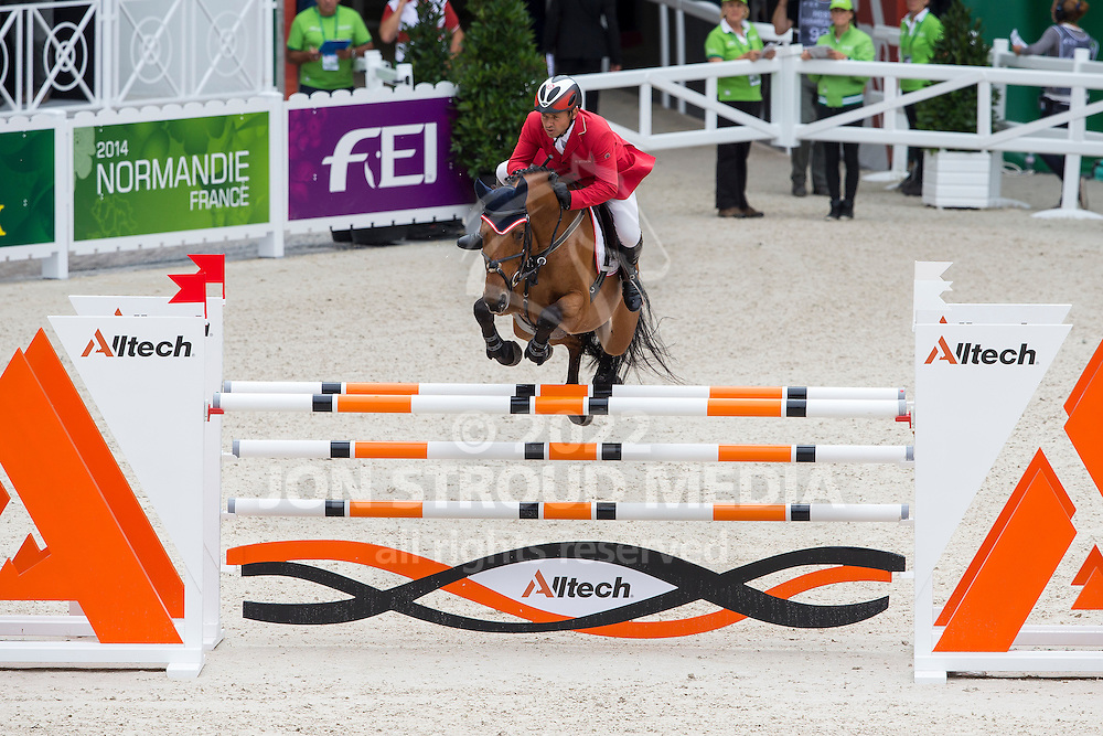 Markus Saurugg, (AUT), Texas I - Team & Individual Competition Jumping Speed - Alltech FEI World Equestrian Games™ 2014 - Normandy, France.<br /> © Hippo Foto Team - Leanjo De Koster<br /> 02-09-14